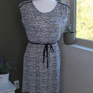 Black & White Zebra Print Jersey Dress
